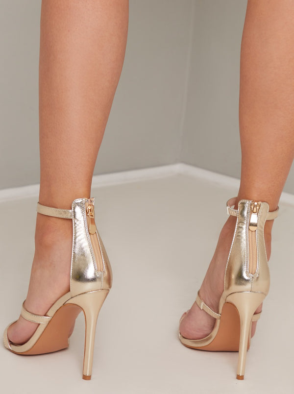 High Heel Metallic Strappy Sandal in Gold