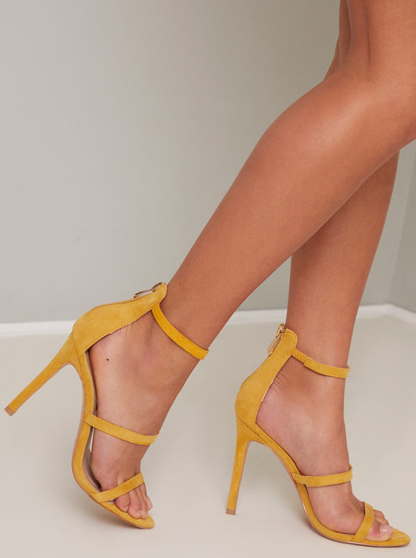 High Heel Faux Suede Strappy Sandal in Yellow
