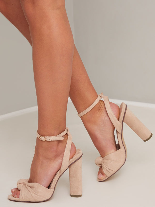 Suede Heels with Bow Detail in Beige
