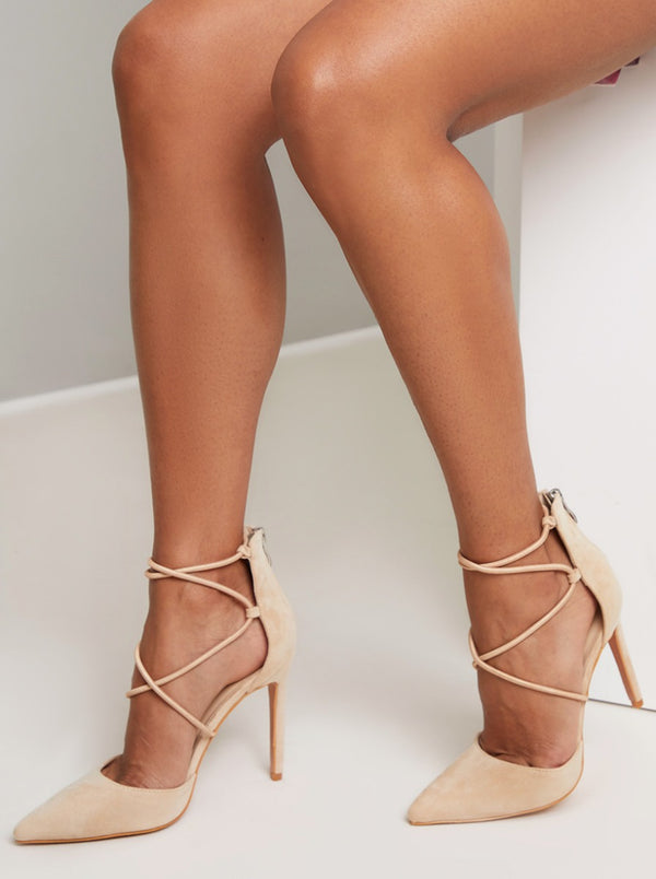 High Heel Laced Court Shoe in Beige
