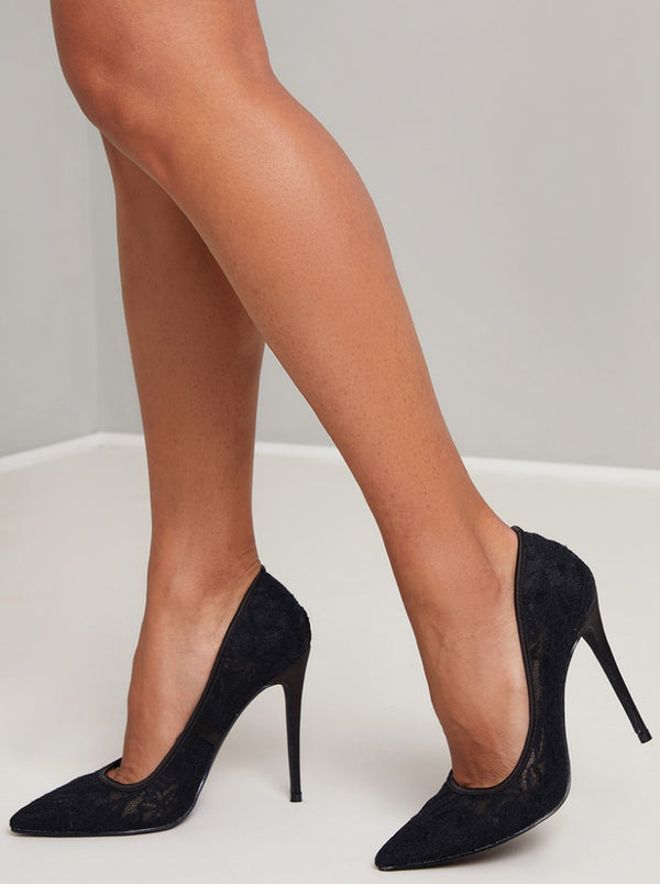 High Heel Lace Court Shoe in Black