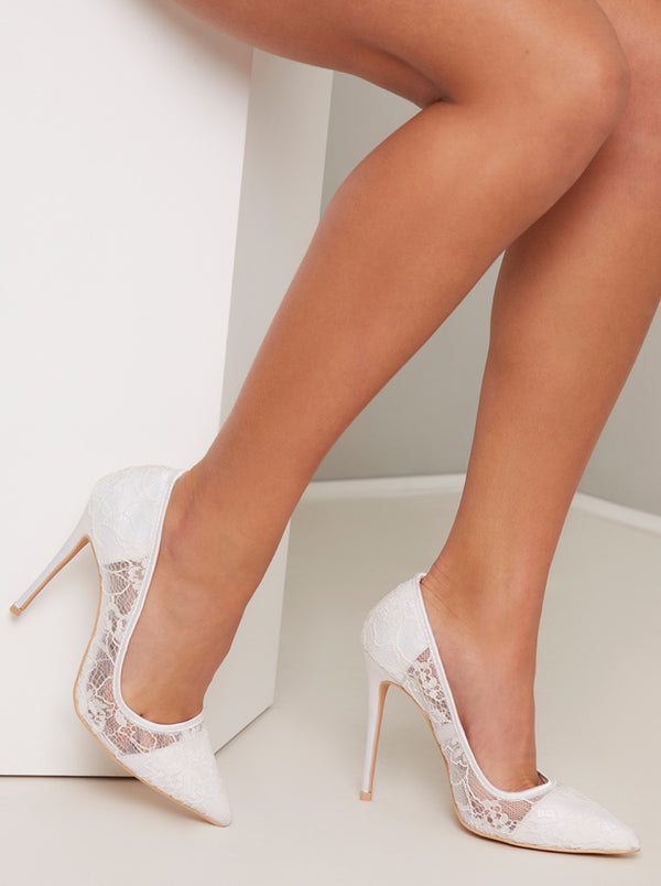 High Heel Lace Court Shoe in White