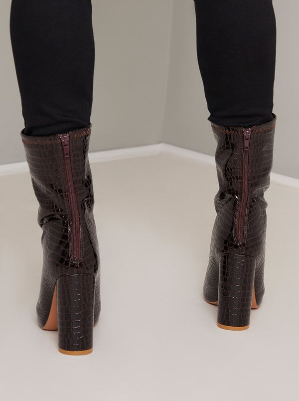 High Ankle Ladies Mock Croc Boots in Brown