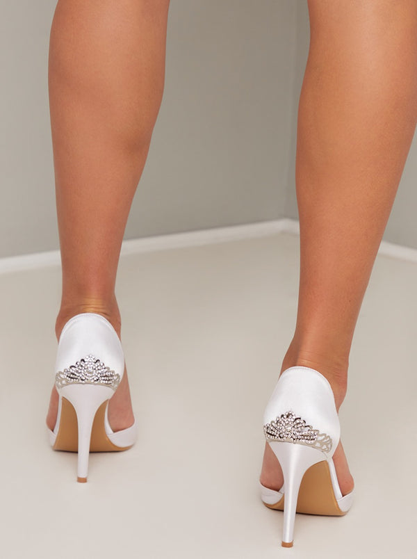 Court Heels with Satin Design in White