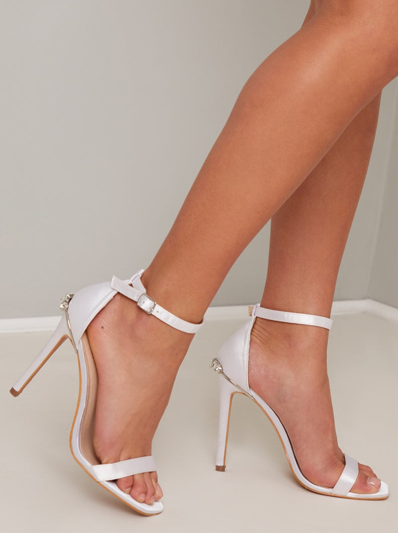 High Heels Diamante Strappy Sandal in White