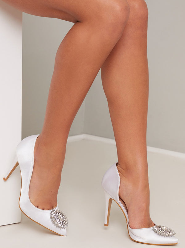 High Heel Diamante Satin Court Shoe in White