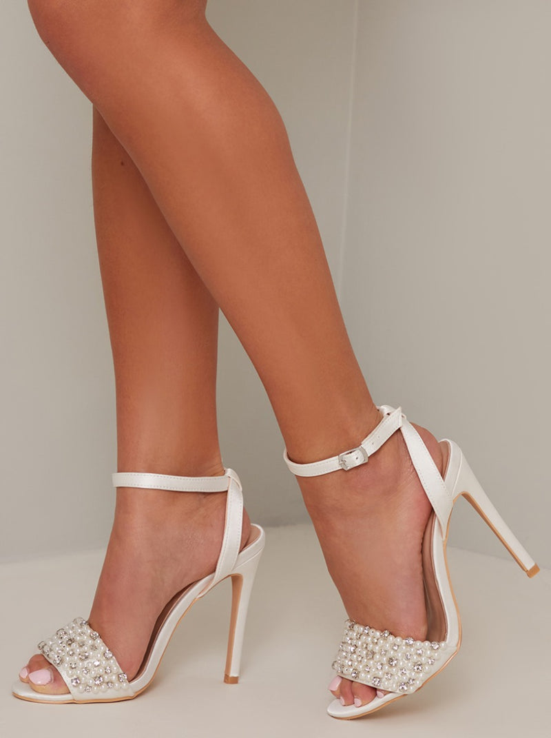 High Heel Faux Pearl Strappy Sandal in White