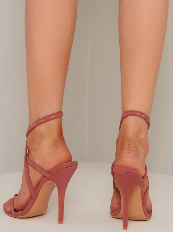 Open Toe Strappy Stilletto Heels in Pink