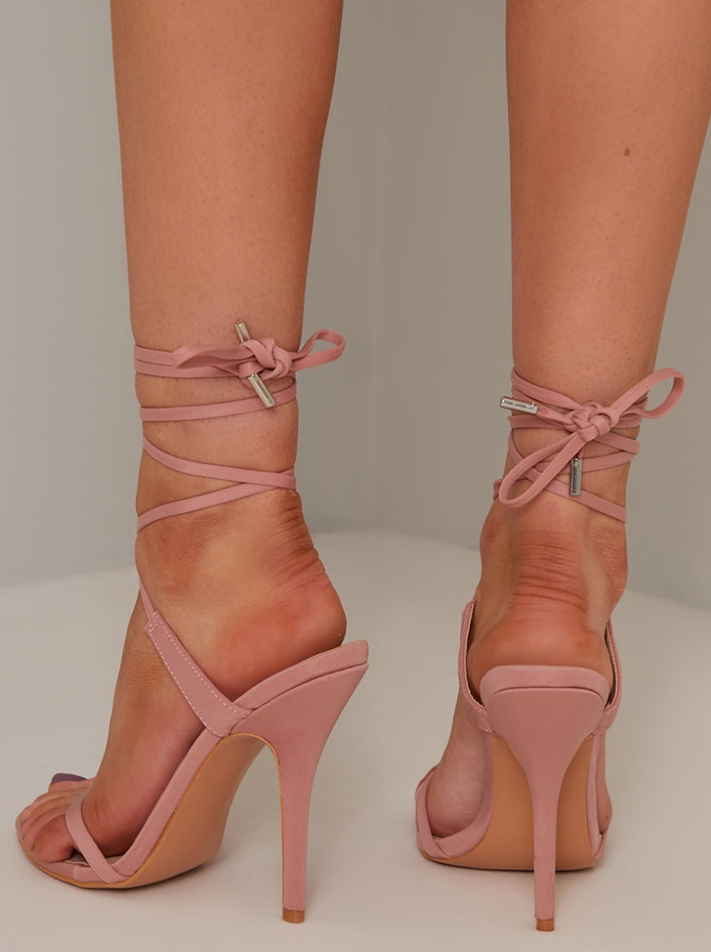 High Heel Lace Up Sandal in Pink