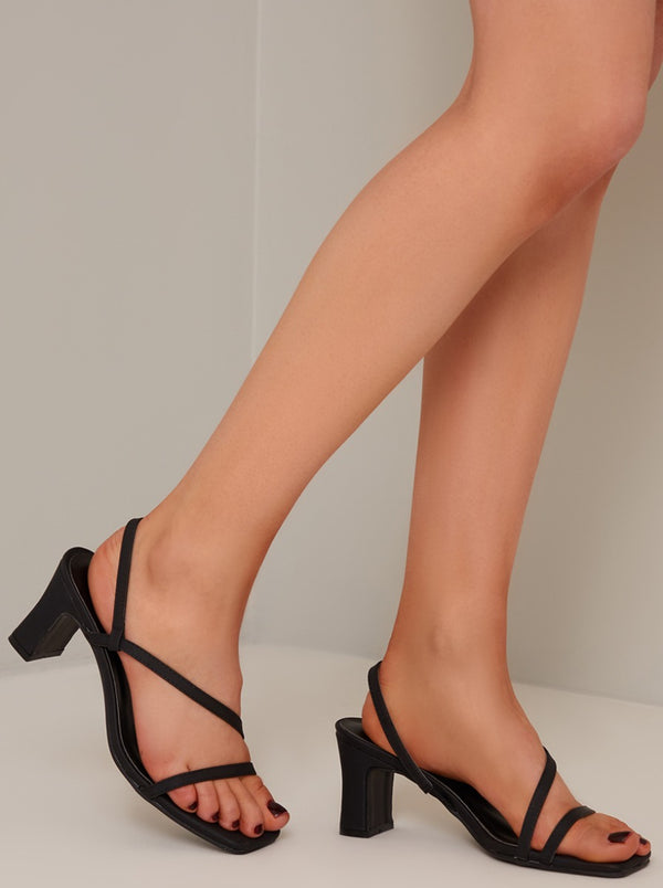Strappy Mid Block Heel Sandal in Black