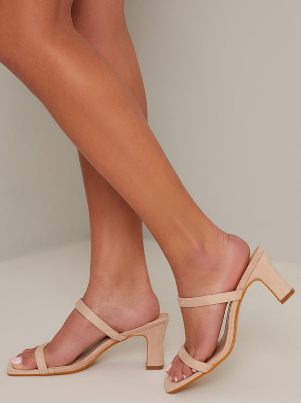 Block Heel Strappy Mule Sandal in Nude