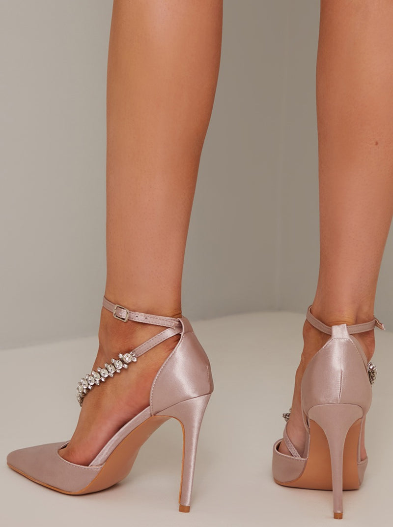High Heel Diamante Strappy Court Shoe in Brown
