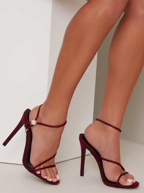 High Heel Strappy Sandal in Red