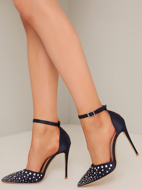 High Heel Diamante Embellished Court Shoe in Blue