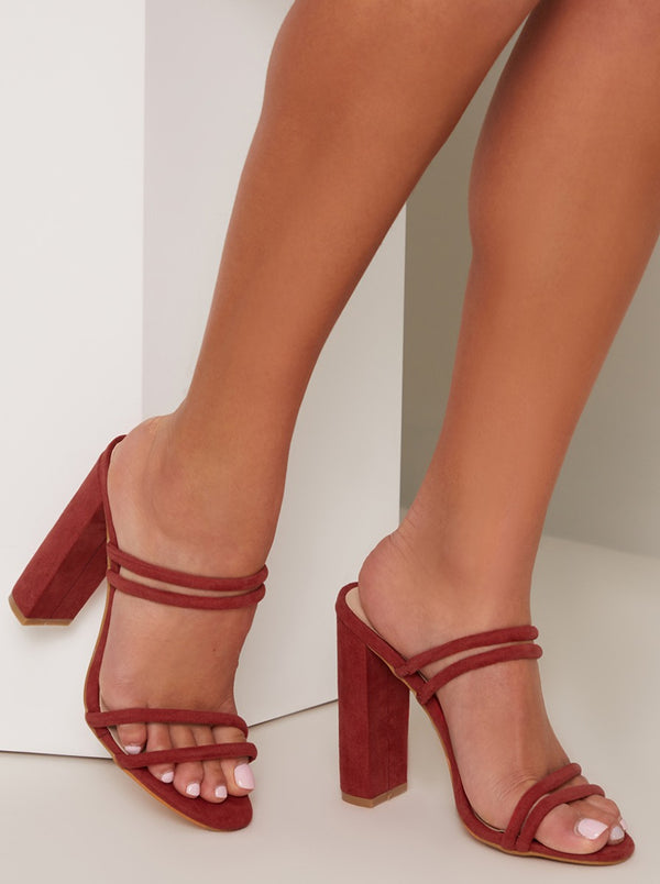 Block Heel Strappy Mule Sandals in Pink