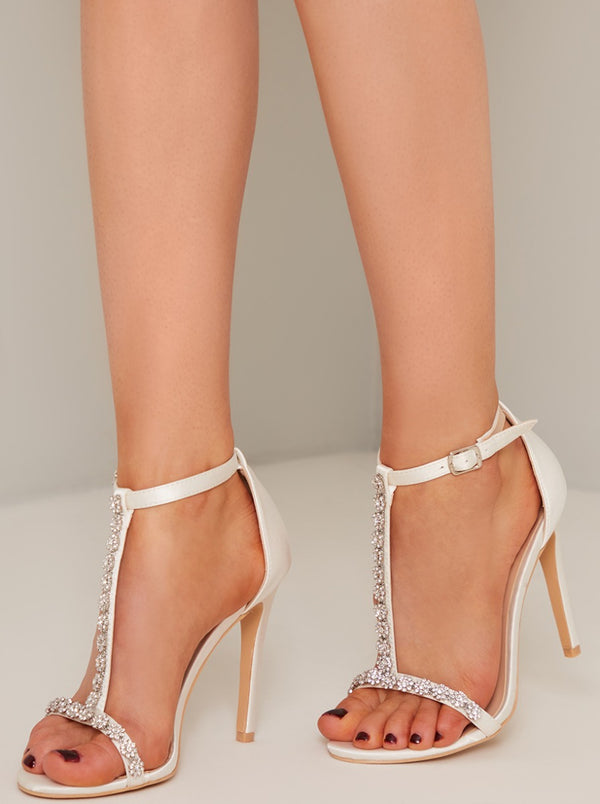 Stilleto Heels with Embellishment in White