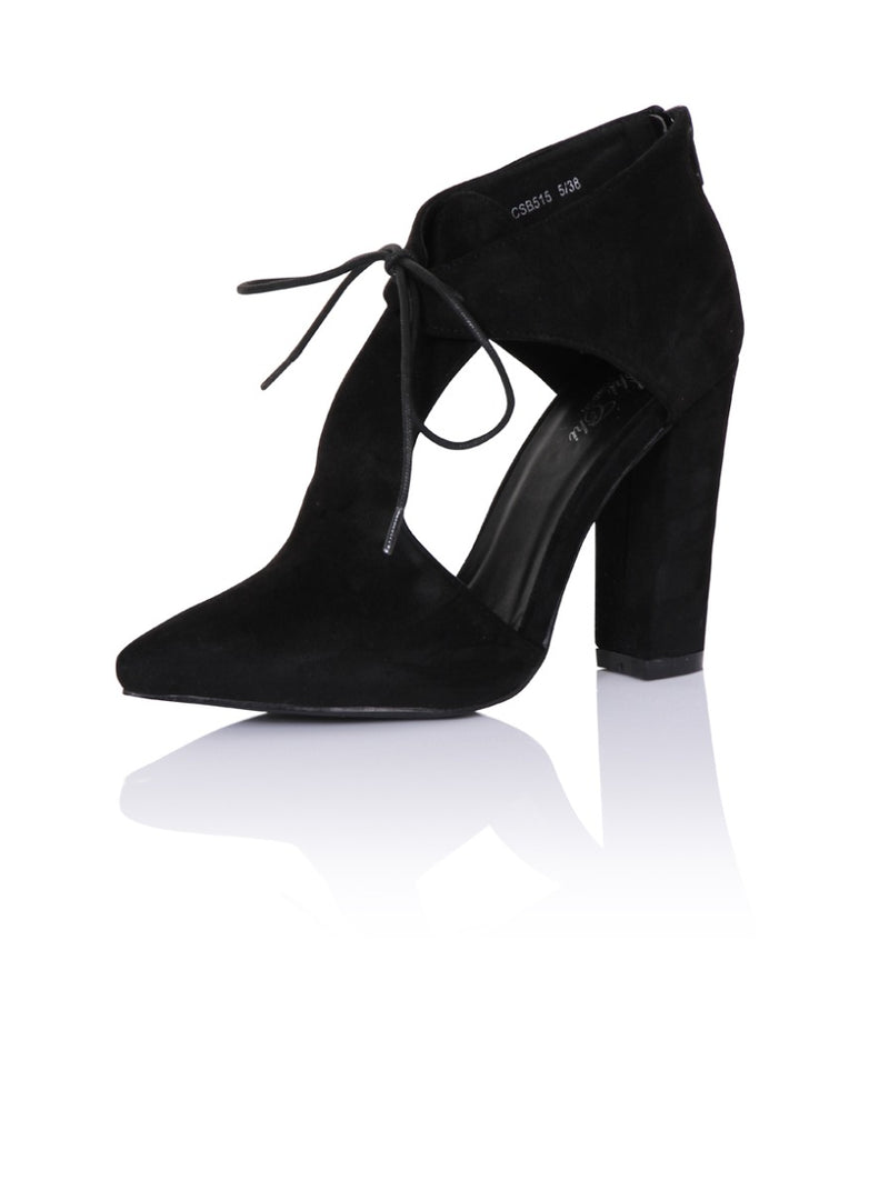 Block Heel Cut Out Ankle Boots in Black