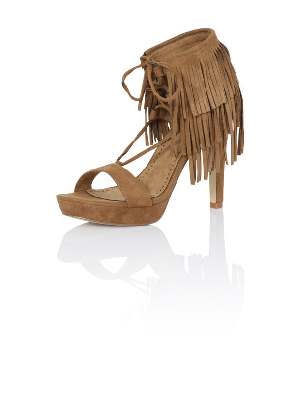 High Heel Platform Tassel Sandals in Brown