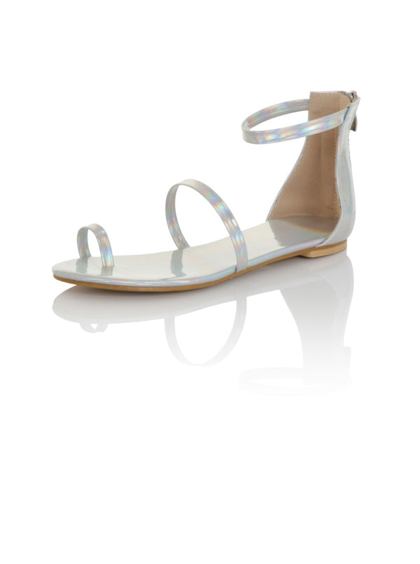 Metallic Strappy Flat Sandals in Silver Patent