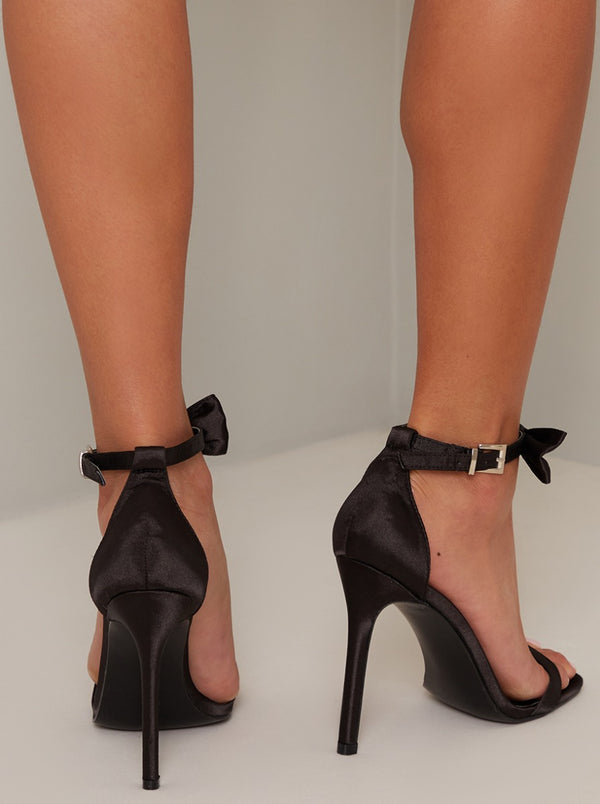 High Heel Satin Bow Strappy Sandal in Black