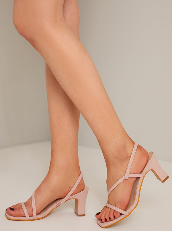 Strappy Mid Block Heel Sandal in Pink