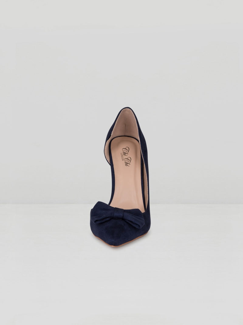 Bow Detail High Heel Court Shoe in Blue