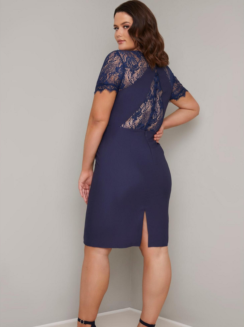 Plus Size Lace Bodice Detail Midi Dress in Blue