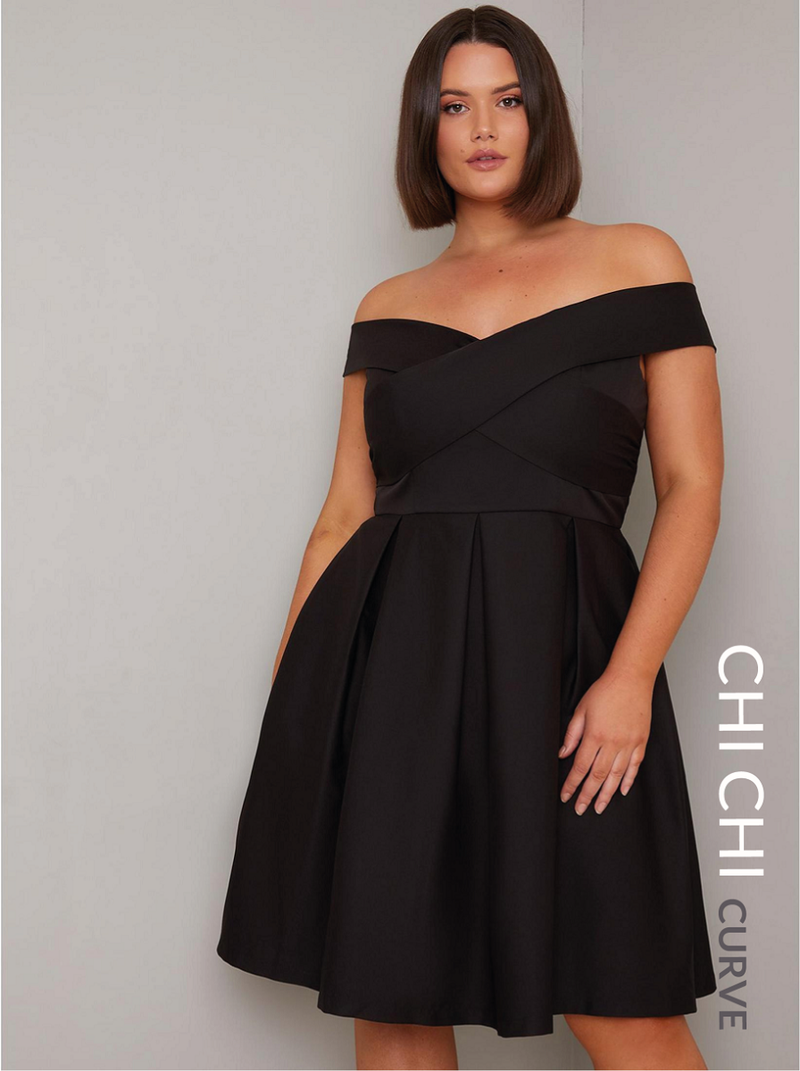 Plus Size Bardot Midi Dress in Black