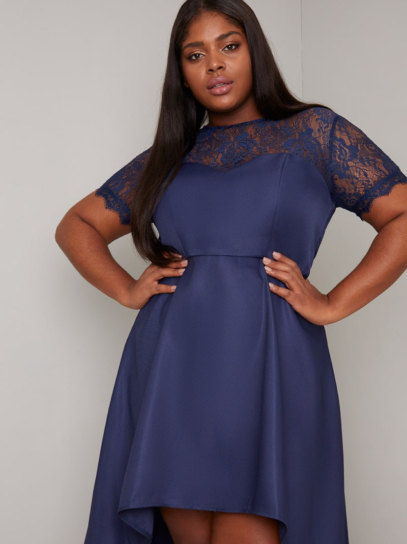 Plus Size Lace Bodice Detail Dip Hem Dress in Blue