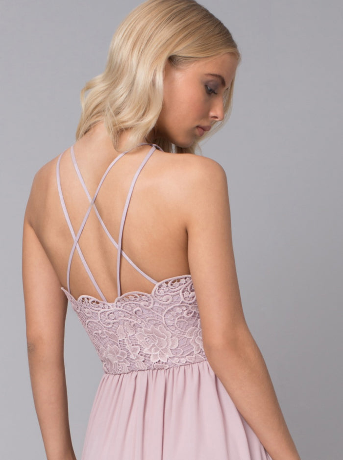 Halter Style Lace Bodice Maxi Dress in Pink