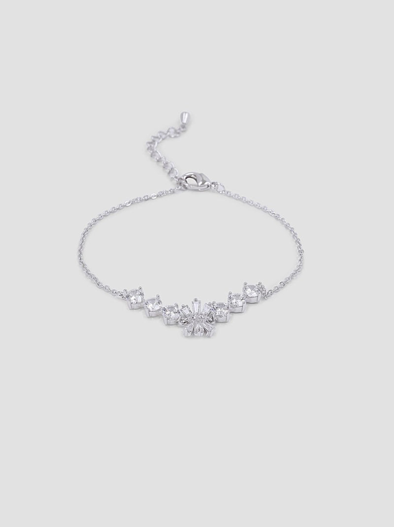 Diamante Detail Chain Bracelet in Silver Tone