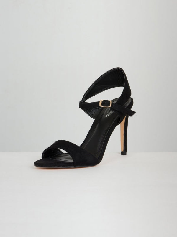 Faux Suede High Heel Strappy Sandal in Black