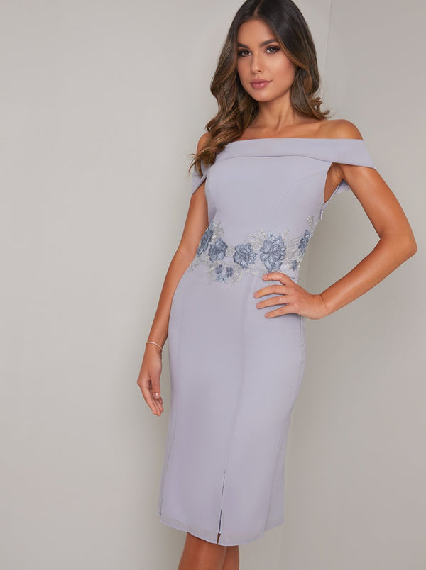 Embroidered Bardot Fitted Bodycon Dress in Blue