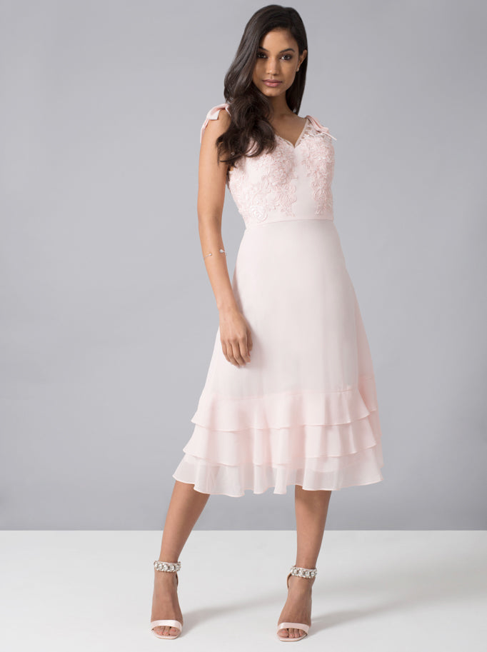 Embroidered Bodice Frill Hem Midi Dress in Pink