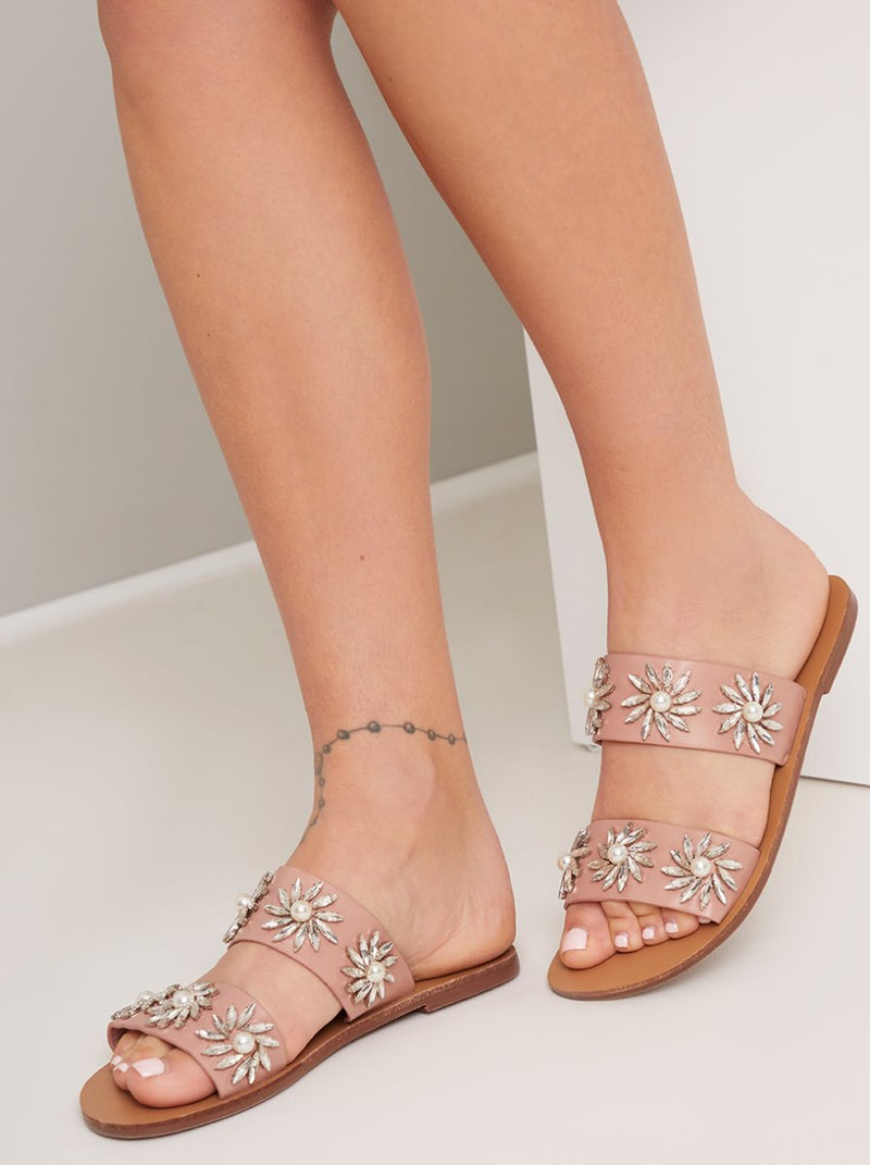 Multi Strap Diamante Embellished Sandals in Pink