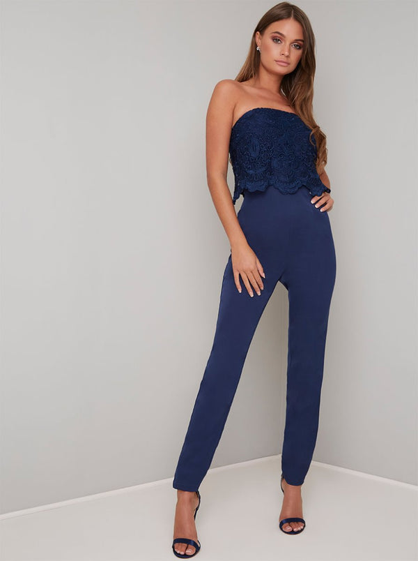 Strapless Lace Overlay Slim Fit Jumpsuit in Blue