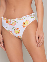 Frill Detail Floral Bikini Bottoms in White