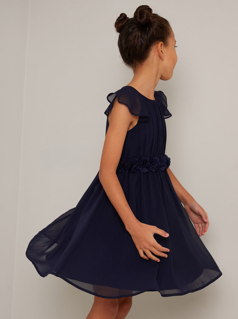 Girls Chiffon Flower Dress in Blue