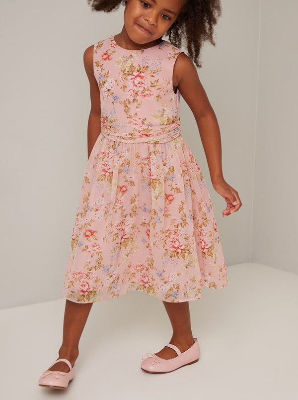 Girls Floral Dress in Pink