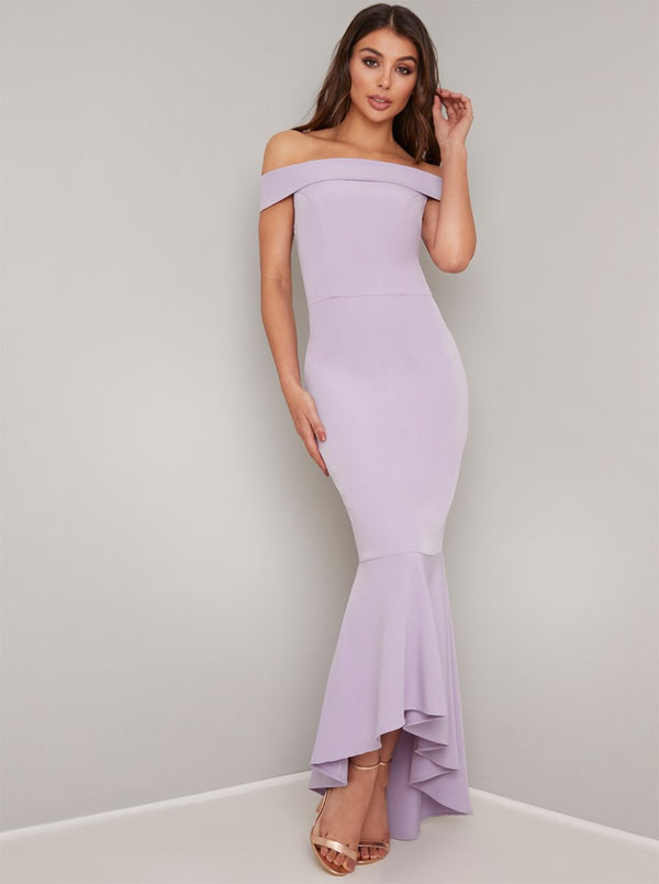 Bardot Fishtail Bodycon Maxi Dress in Purple