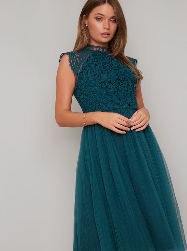 Midi Dress with Floral Crochet Design in Green