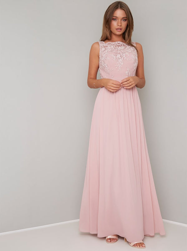 Lace Bridesmaid Maxi Dress in Nude