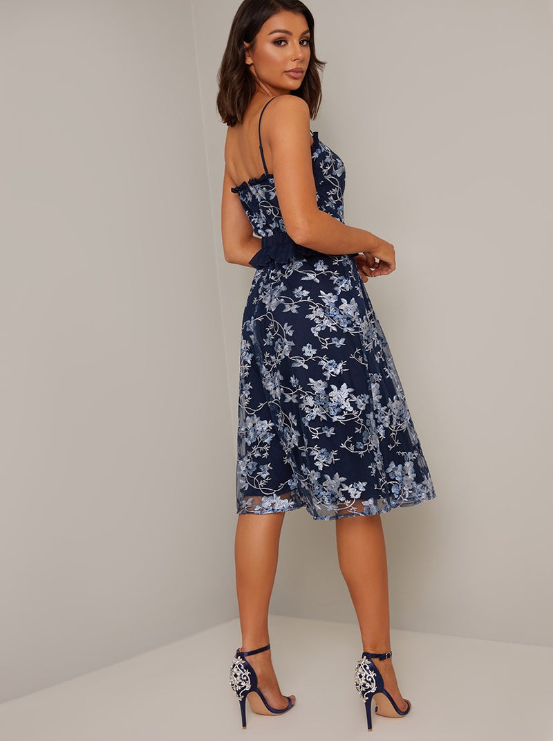 Cami Strap Lace Midi Dress in Blue
