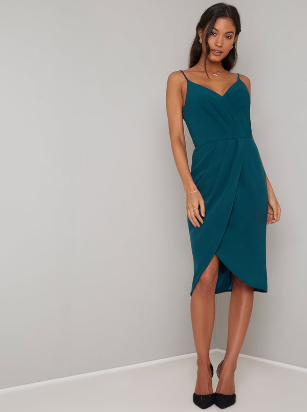 Cami Strap Wrap Detail Midi Dress in Green