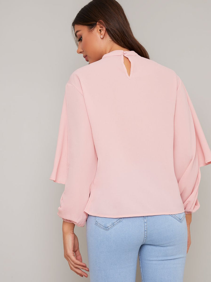 Ruffle Long Sleeved Top in Pink