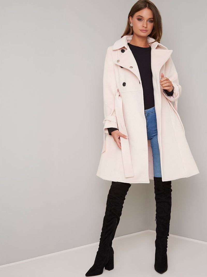 Fit And Flare Button Detail Coat in Nude