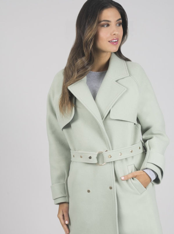 Double Breasted Belted Coat in Green