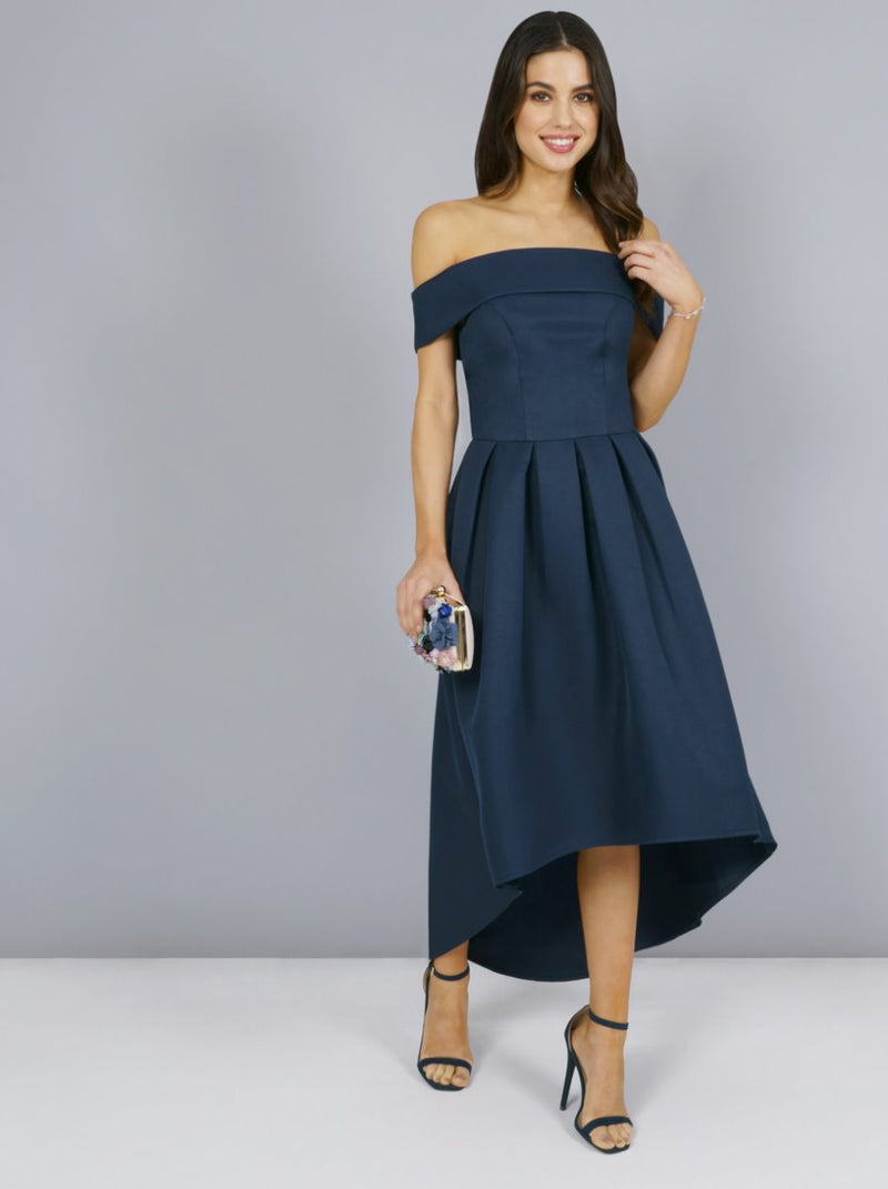 Dip Hem Bardot Dress with Pleated Skirt in Blue