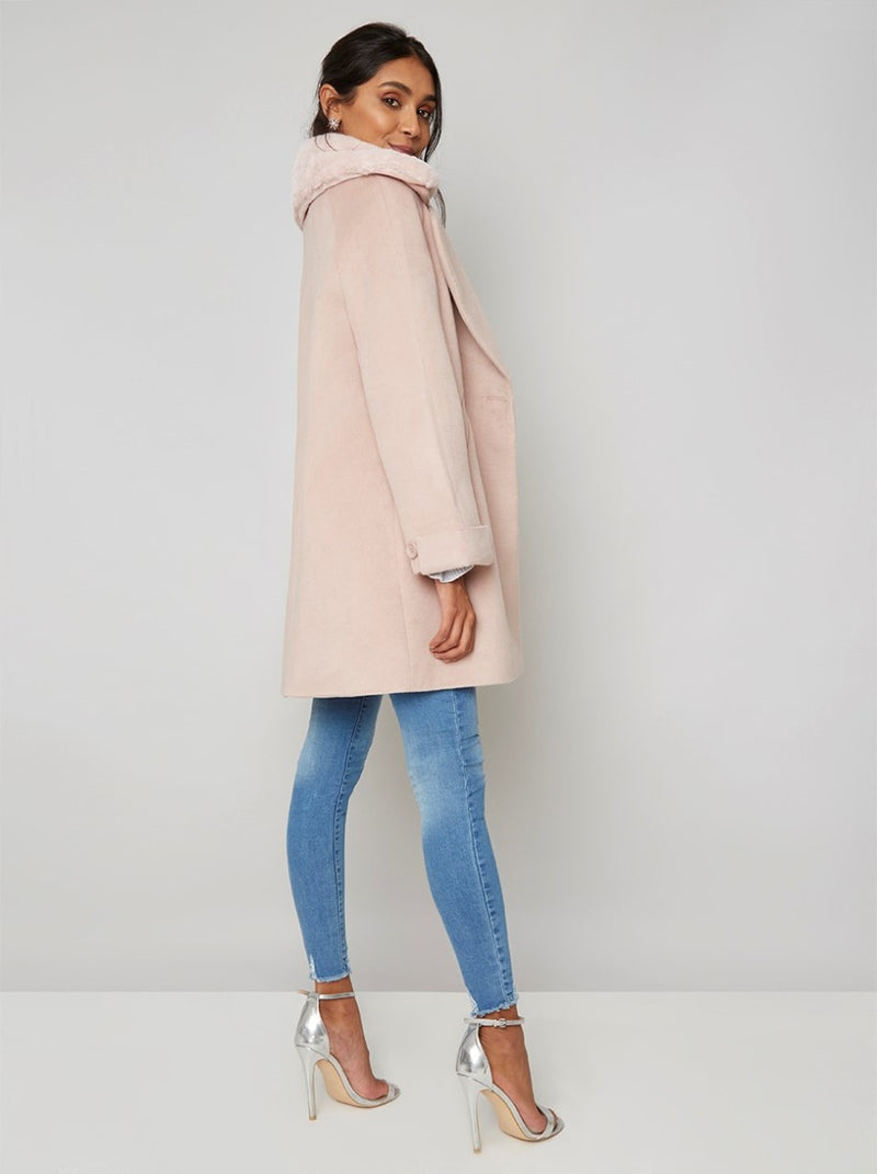 Faux Fur Collar Longline Coat in Pink