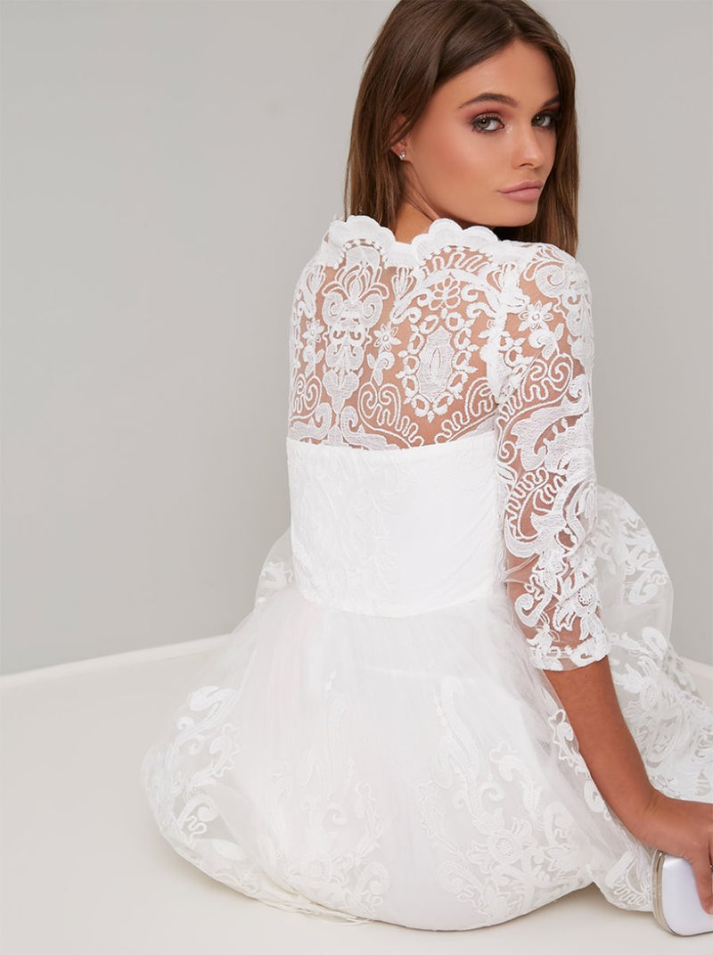 Lace Embroidered Long Sleeve Tulle Midi Dress in White